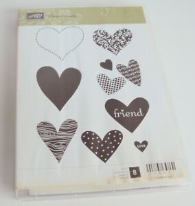 Stampin' Up! I HEART HEARTS  Unmounted Rubber Stamp Set No. 8 Retired Love