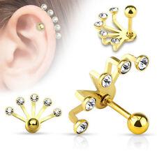 316L Surgical Steel Ear Jacket Cartilage Helix Earring Ring Fan 16 Gauge 16G