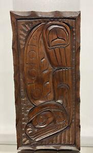 Hand Carved Wood Sculpture Northwest Coast Native Artist Signed TitledHaida Art