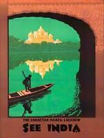 TRAVEL LUCKNOW INDIA CHHATTAR MANZIL PALACE LAKE BOAT ART PRINT POSTER BB7562B