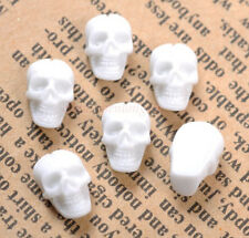 FREE SHIP 20pcs white Fashion Resin Flatback Carved Skull Beads 10X6MM SH1929