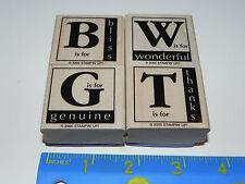 Stampin Up Around the Block Stamp Set of 4 B Bliss W Wonderful T Thanks G Genuin