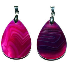 Purple Onyx Banded Stone Pendant Teardrop 30X40X7Mm With Bail Pendants Pen20