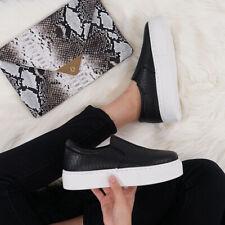 New listing Womens Black Snake Reptile Platform Flatform Slip On Sneakers Sz 10