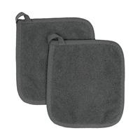 2 Pack Cotton Terry Cloth Holder Set Kitchen Hot Pad Machine Wash Graphite Grey