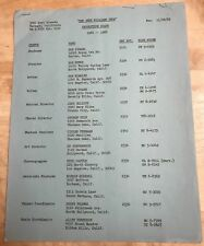 RARE! The Andy Williams Show Vintage Original 1965-1966 Production Staff List