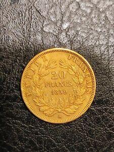 20 Francs Or Napoleon III , 1859 A Barre, Tête Nue , SUP