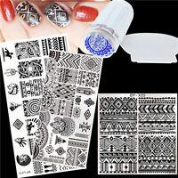 4Pcs Nail Art Stamping Plate Template Stamper W/Scraper BORN PRETTY Ethnic Image