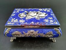 Chinese handwork Miao silver jewelry Cloisonne box Blue flower design RT029