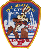 NEW YORK FIRE DEPARTMENT HOUSE PATCH: Explosives Unit, Wiley Coyote