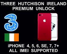 Three Hutchison Ireland Premium Unlock Service, fits iPhone 4, 5, 6, 6S SE 7, 7+