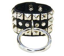 """Bondage Bracelet Studded with Large 2"""" Silver Ring Premium Leather"""