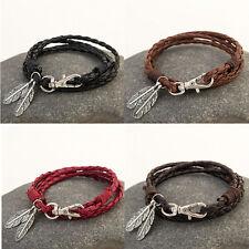 Newly Men Women Retro Feather Long Leather Wrap Braided Wristband Bracelet Charm