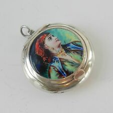Antique Sterling Silver & Enamel Gypsy Lady Powder Chatelaine Sydney & Co 1921