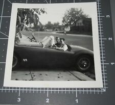 1950's College Men Corvette Dog Boy Bicycle in Back Driveway CAR Vintage PHOTO