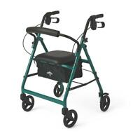 "Medline Basic Aluminum Rollator with 6"" Wheels, Green"