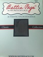 Bettie Page Inspired Secrets in Lace Authentic Nylon Stockings-RHT Black-Size S