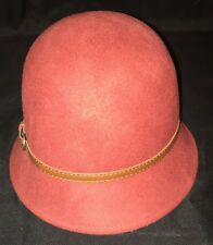 Ladies Wool Felt Hat Bucket Derby Flapper Style Belt Buckle Band
