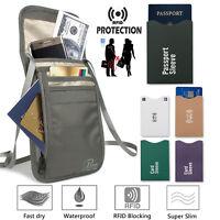 Bonus 12 Sleeves Eighty Days RFID-Blocking Neck Stash Anti-Theft Hidden Wallet
