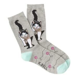 Cat & Yarn K Bell Women's Crew Socks Gray New Colorful Novelty Kitty Fashion