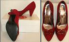 scarpe donna decolté,n°37-rosse-scamosciate- plateau-decollete-tacco 7-fiocco-
