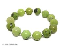 Unique Chunky Green Chrysotine Jasper & Sterling Silver Beaded Bracelet