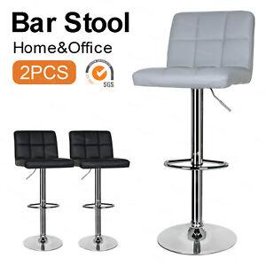 2 x Pub Chair Faux Leather Bar Stools Kitchen Breakfast Bar Barstool Swivel lift
