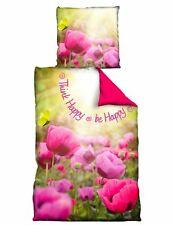 4 tlg Wende Bettwäsche 135 x 200 cm BE HAPPY Blumen pink 2 Garnituren