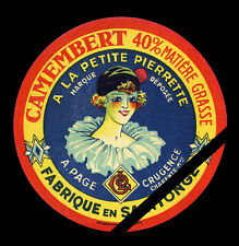 Original Vintage French Cheese Label: Camembert - A Le Petite Pierrette