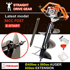 88CC TDKMAN Petrol Post Hole Digger Earth Auger 400mm Drill 600mm Ex Fence Borer