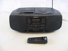 Vtg Sony Cfd-S33 Am/Fm Stereo Cassette/Cd Player-Clock-Mega Bass Port & Remote