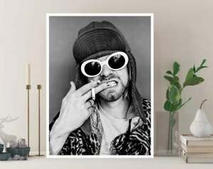 Kurt Cobain Black And White Poster, Rapper Print, Custom Canvas Rolls, Wall Art