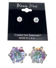 Bianca Stone Aurora Borealis Stud Earrings Crystals Made By Swarovski