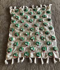 Vtg Afghan Crochet 3D Wreath Granny Square Christmas White Red Green Blanket