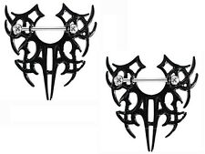 Nipple Ring Bars Tribal Shield Body Jewelry Pair 14 gauge Body Piercing