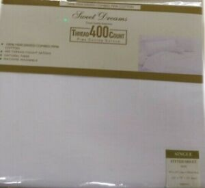 """SINGLE BED FITTED SHEET WHITE COMBED PIMA COTTON 400 THREAD COUNT 15"""" BOX"""