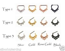 Nose Rings Nose Septum Clicker Fashion Goth Nose Hoop Rings Piercing Jewelry 16G