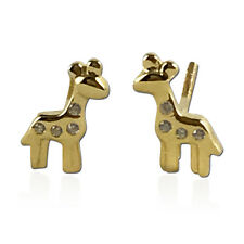 Girls .925 Sterling Silver 14K Gold Plated CZ Screwback Giraffe Stud Earrings