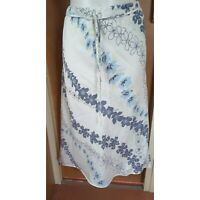 Principles Women's White and Blue Floral A-line Linen Skirt Size 12 Pull-on Midi