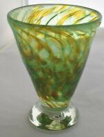 ART GLASS Pedestal HEAVY Vase GREEN GOLD Mottled Hand Blown Stamped T M O 5