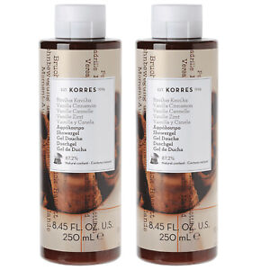 Lot 2x New KORRES Vanilla Cinnamon Hydrating Shower Gel 8.45oz Moisturizing
