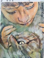 Original Double Aceo 3,x4 Inch Painting Baby & Kitten Friends Lovely! Cat Kid