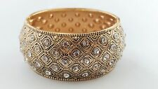 Stunning Wide Retro Gold Metal Clear Diamante Crystal Hinged Bangle Bracelet