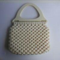 Vintage Macrame Purse Bag Wooden Handles Woven