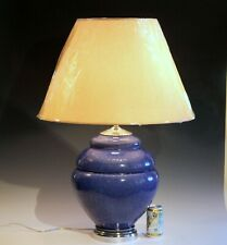 Huge Vintage Kevin Thomas Pottery Organic Raku Fired Zen Blue Studio Vase Lamp