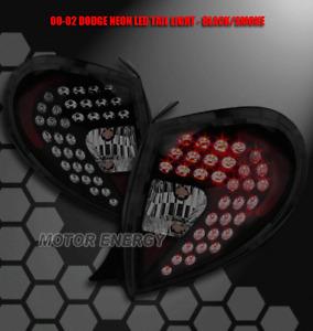 FOR 00 01 02 PLYMOUTH NEON LED TAIL BRAKE LIGHT LAMP SET BLACK/SMOKE SEDAN 4DR