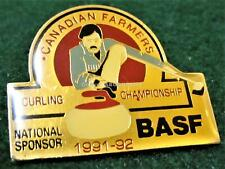 1991-92 CANADIAN FARMERS Curling CHAMPIONSHIP Lapel Pin BASF Mint