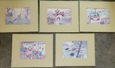 set of Christopher Hope funny golf pictures mounted greeting cards 1989-93 5 qty