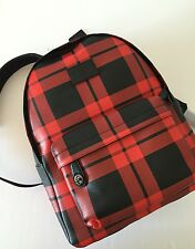 Coach Men's Printed Tattersall  Red Black Leather Campus Backpack 71821 NWT