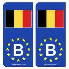 2 Autocollants immatriculation auto : B Belgique Drapeau - Identifiant Européen